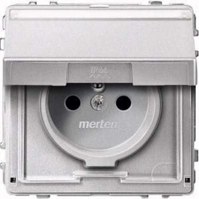 Merten SCHUKO-Steckdose aluminium Klappd.Schriftfeld MEG2312-7260