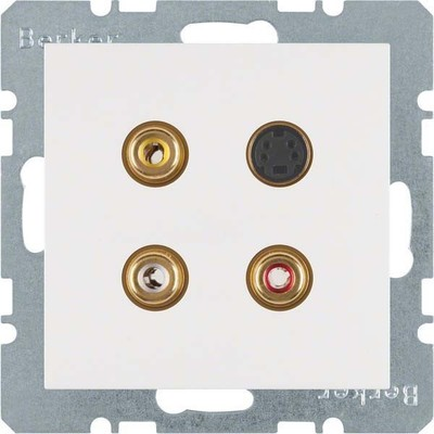 Berker Steckdose 3xCinch/S-Video polarweiß matt 3315321909