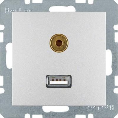 Berker Steckdose USB/3,5mm Audio aluminium matt 3315391404