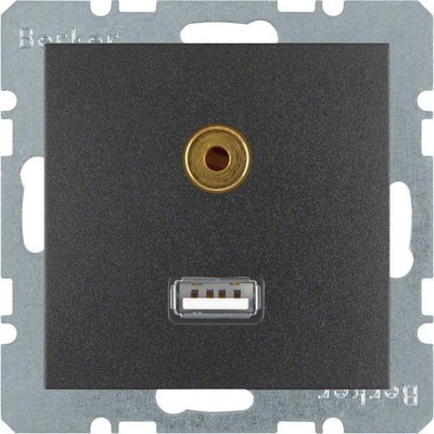 Berker Steckdose USB/3,5mm Audio anthrazit matt 3315391606