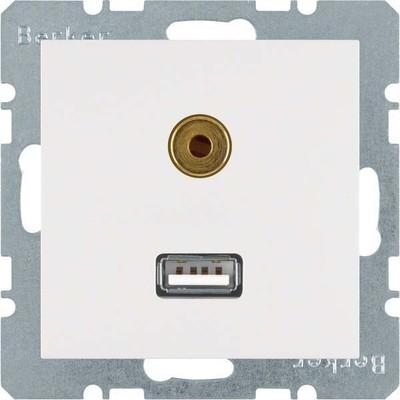 Berker Steckdose USB/3,5mm Audio polarweiß matt 3315391909