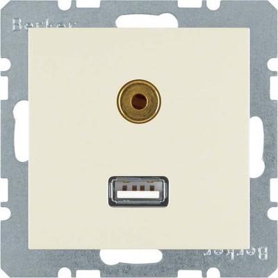 Berker Steckdose USB/3,5mm Audio weiß glänzend 3315398982