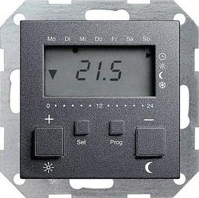 Gira RT-Regler 230 V mit Uhr anthrazit 237028