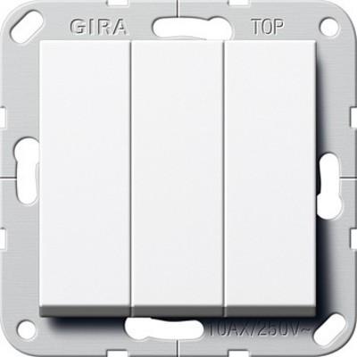 Gira Taster 3-fach reinweiß 1polig Schließer 284403