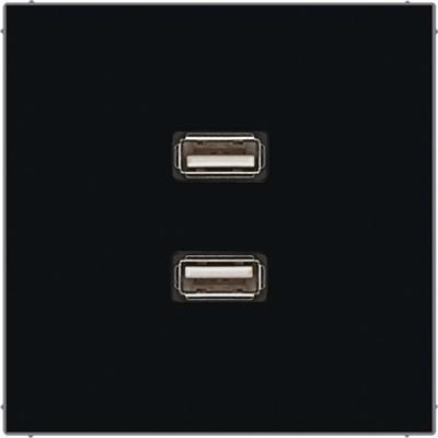 Jung Multimedia-Anschluss schwarz 2 x USB m.Tragring MA LS 1153 SW