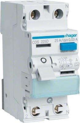 Hager FI-Schutzschalter 2pol.25A/30mA,6kA,QC CDS225D