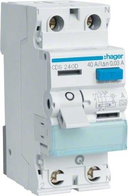 Hager FI-Schutzschalter 2pol.40A/30mA,6kA,QC CDS240D