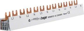 Hager Phasenschiene 4p,16qmm,12mod,Gabel KDN451D