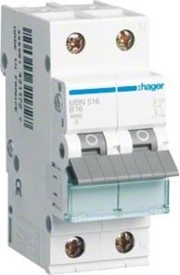Hager Leitungsschutzschalter 1p+N, B-16A, 6kA MBN516