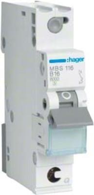 Hager Leitungsschutzschalter 1p. B-16A,6kA,1M QC MBS116