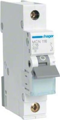 Hager Leitungsschutzschalter 1pol. C-16A, 6kA MCN116