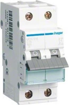 Hager Leitungsschutzschalter 1p+N, C-16A, 6kA MCN516