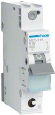 Hager Leitungsschutzschalter 1p. C-16A 6kA 1M QC MCS116