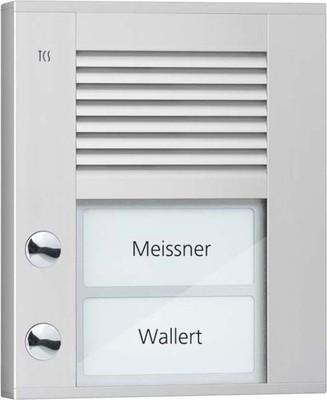 TCS Tür Control Audioaußenstation1-reihig 2 Tasten AP silber PDS02-EN/04