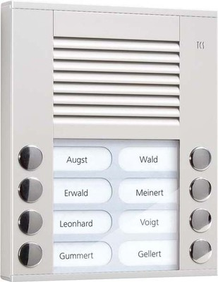 TCS Tür Control Audioaußenstation 2-reihig 8 Tasten AP silber PES08-EN/04