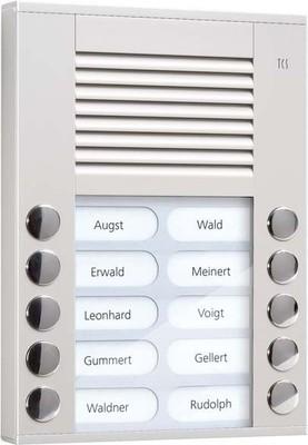 TCS Tür Control Audioaußenstation 2-reihig 10 Tasten AP silber PES10-EN/04
