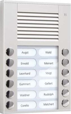 TCS Tür Control Audioaußenstation 2-reihig 12 Tasten AP silber PES12-EN/04