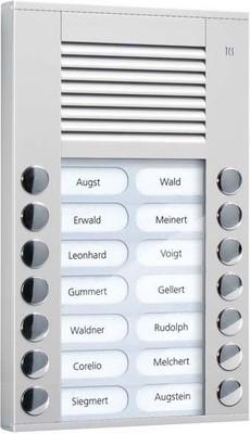 TCS Tür Control Audioaußenstation 2-reihig 14 Tasten AP silber PES14-EN/04