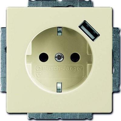 Busch-Jaeger Schuko/USB-Steckdose elfenbeinweiß 20 EUCBUSB-82