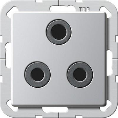 Gira Steckdose Round Pin 15A abschaltbar aluminium 2774203