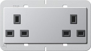 Gira Doppelsteckdose 13A aluminium 2782203