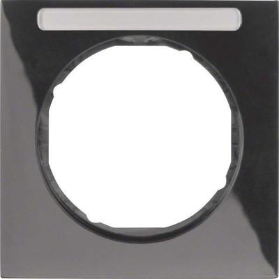 Berker Rahmen m.Beschriftungsfeld schwarz glänzend 10112235