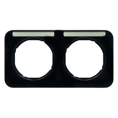 Berker Rahmen m.Beschriftungsfeld schwarz glänzend 10122135