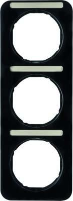 Berker Rahmen m.Beschriftungsfeld schwarz glänzend 10132125