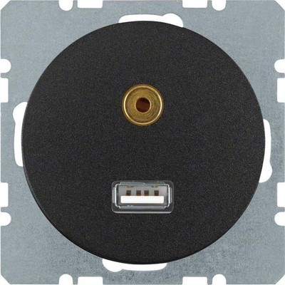 Berker USB/3,5mm Audio Steckdose sw/gl 3315392045