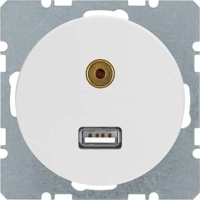 Berker USB/3,5mm Audio Steckdose pows/gl 3315392089