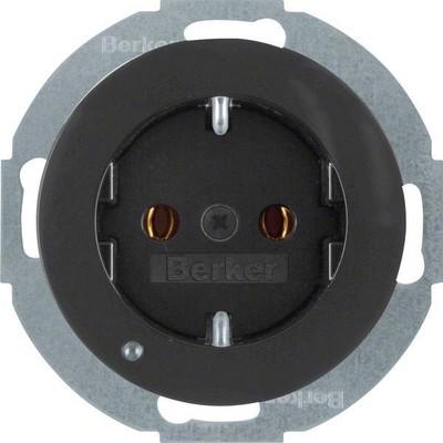 Berker SCHUKO-Steckdose sw/gl LED-Orientierg-licht 41092045