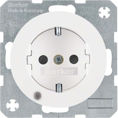 Berker SCHUKO-Steckdose pows/gl Kontroll-LED 41102089