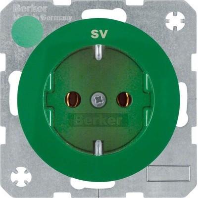Berker SCHUKO-Steckdose gn/gl m. Aufdruck SV 47432003