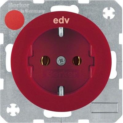 Berker SCHUKO-Steckdose rt/gl m. Aufdruck EDV 47432022
