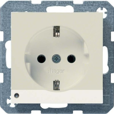 Hager SCHUKO-Steckdose creme m. LED-Licht WYS401B