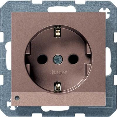 Hager SCHUKO-Steckdose bronze m. LED-Licht WYS408B