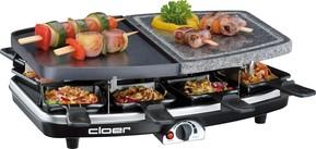 Cloer Raclette-Grill 8Pfän,Naturstein+Alu 6435 sw/si