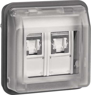 Berker UAE Steckdosen 8/8-polig geschirmt lichtgrau matt 14103505