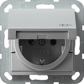 Gira Schuko-Steckdose aluminium m.Klappd., System55 045426