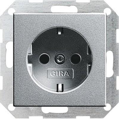 Gira Schuko-Steckdose aluminium o.B.krallen,System55 046626