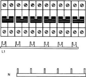 ABB Stotz S&J Kammschiene Zuleitung:1Phase+N SZ-KS 9/30N