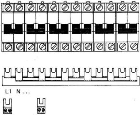 ABB Stotz S&J Sammelschienenblock Zuleitung:1Phase+N SZ-PSB 56N