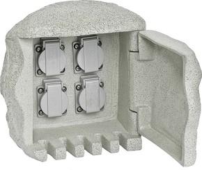 EVN Elektro Gartenenergieverteiler Steinform 4-fach 230 418