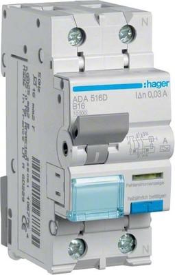 Hager FI/LS-Schalter 1P+N 10kA B-16A 30mA ADA516D