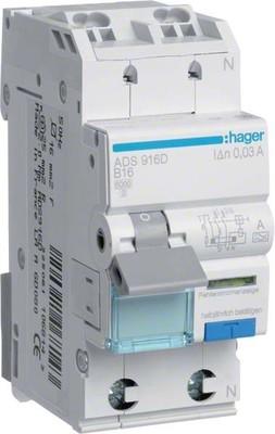 Hager FI/LS-Schalter 1P+N 6kA B-16A 30mA ADS916D