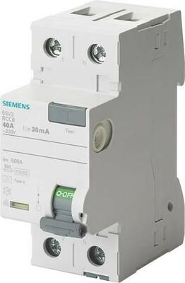 Siemens Indus.Sector FI-Schutzschalter 40A,1+N,30mA,230V 5SV3314-6