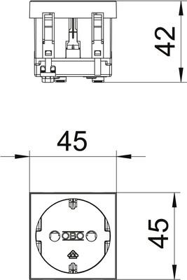 OBO Bettermann Vertr Steckdose 0 Grad, 1-fach Schutzkontakt STD-D0 RW1