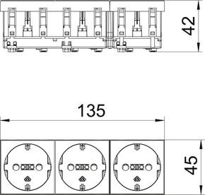 OBO Bettermann Vertr Steckdose 0 Grad, 3-fach Schutzkontakt STD-D0 SRO3