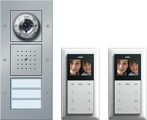 Gira Zweifam.haus-Paket Video aluminium 049546