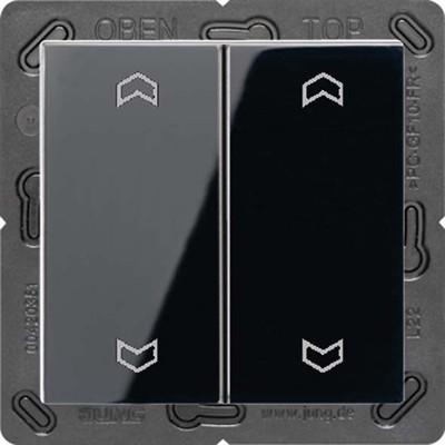 Jung Funk-Wandsender schwarz 4-kanalig Symbole ENO A 595 MP SW